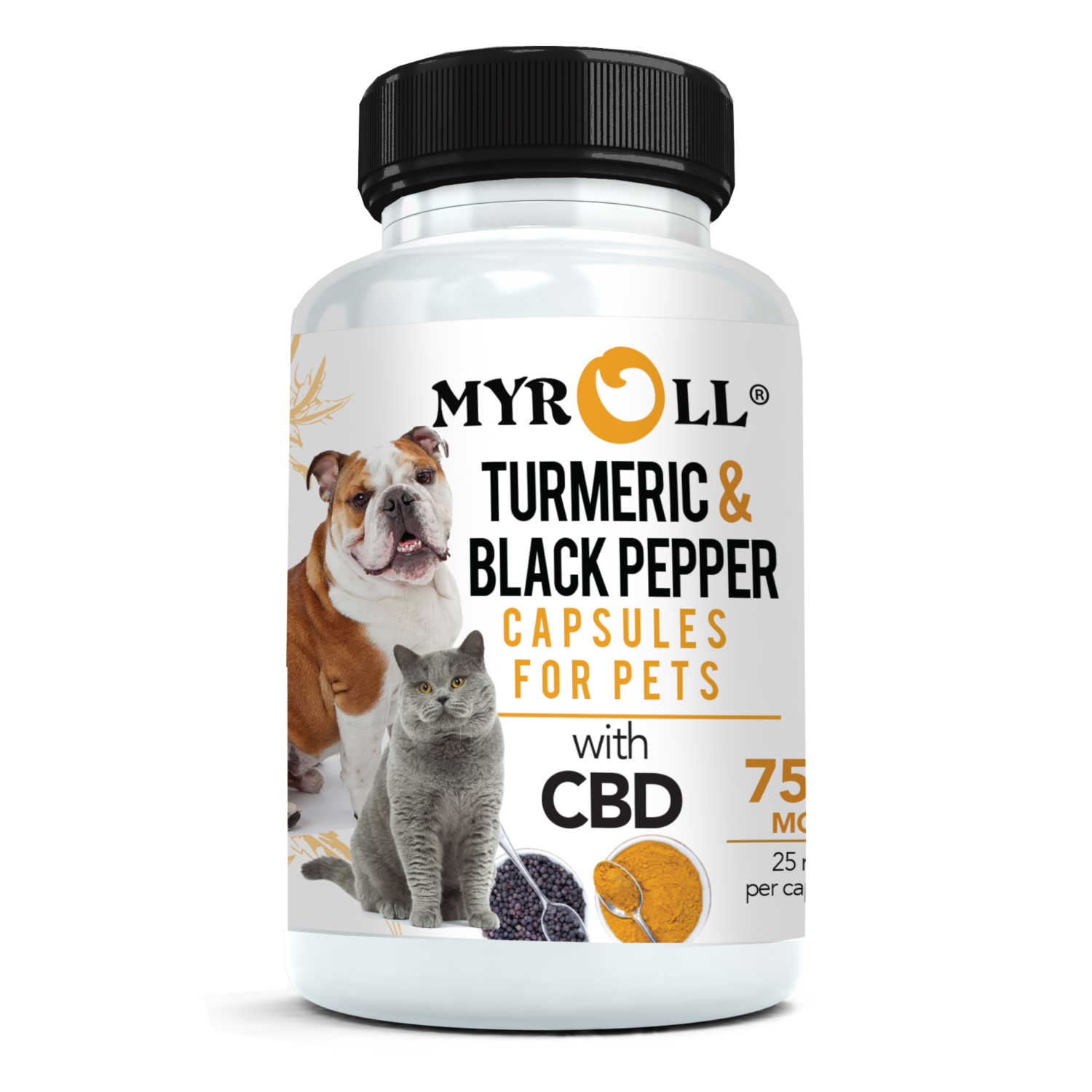 My Roll CBD Turmeric And Black Pepper Pet Capsules 750mg